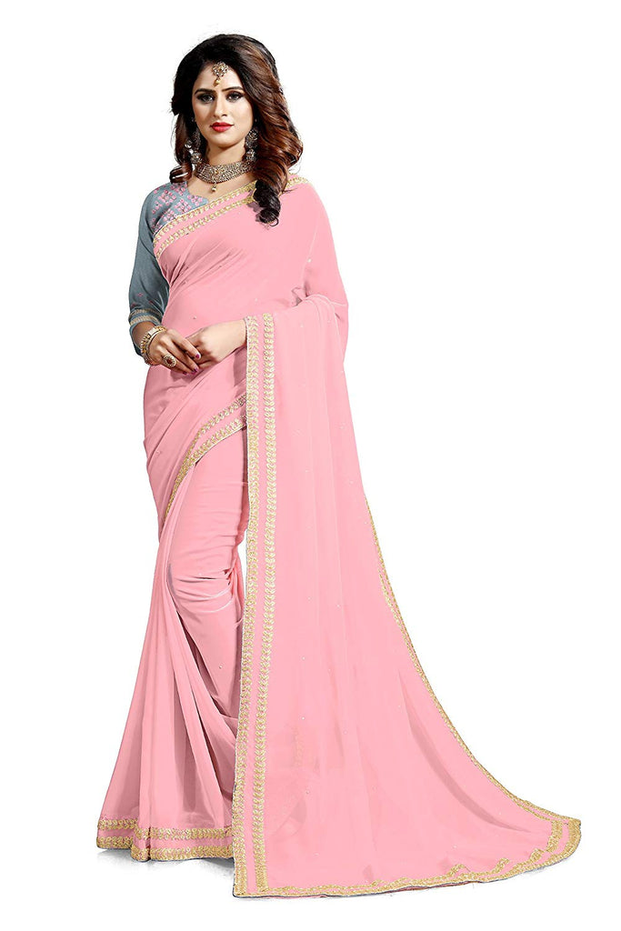 6e08fd2cc Pink Saree With Golden Border | Pink Saree | Pink Saree With Gold Border |  Light Pink Silk Saree – Lady India