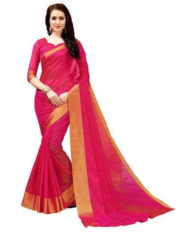 Pink Silk Saree with Golden Border
