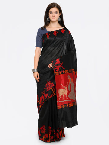 Plain Black Silk Saree