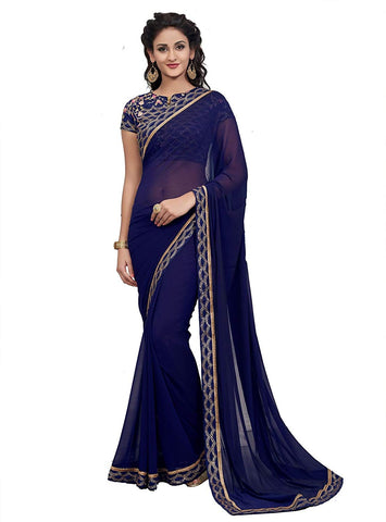 Plain Blue Chiffon Saree