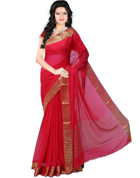 Plain Chiffon Saree With Gold Border