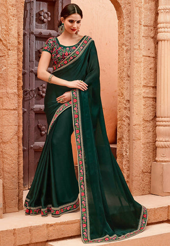 Dark Green Plain Satin Chiffon Saree