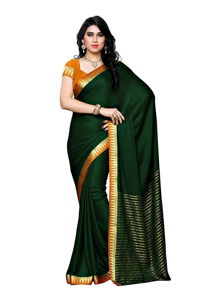 Plain Silk Saree with Golden Border
