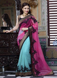 Designer Pink & Blue Soha Ali Khan Bollywood Net Saree Georgette Party Wear Saree