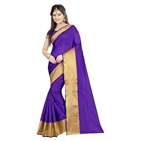 Purple Saree with Golden Border