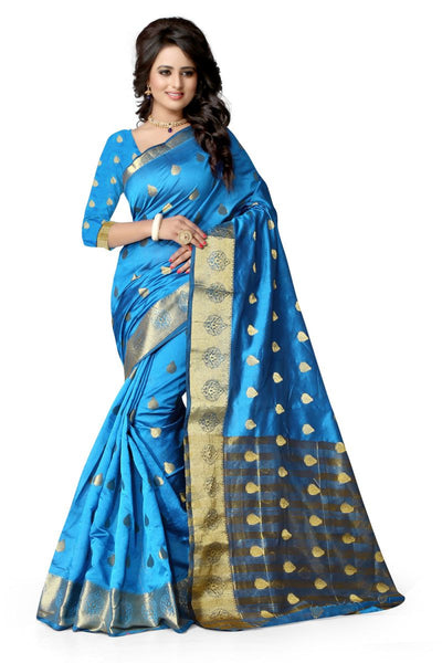 Designer Firozi Color Poly Cotton Saree With Golden Broad Border And Butti Work