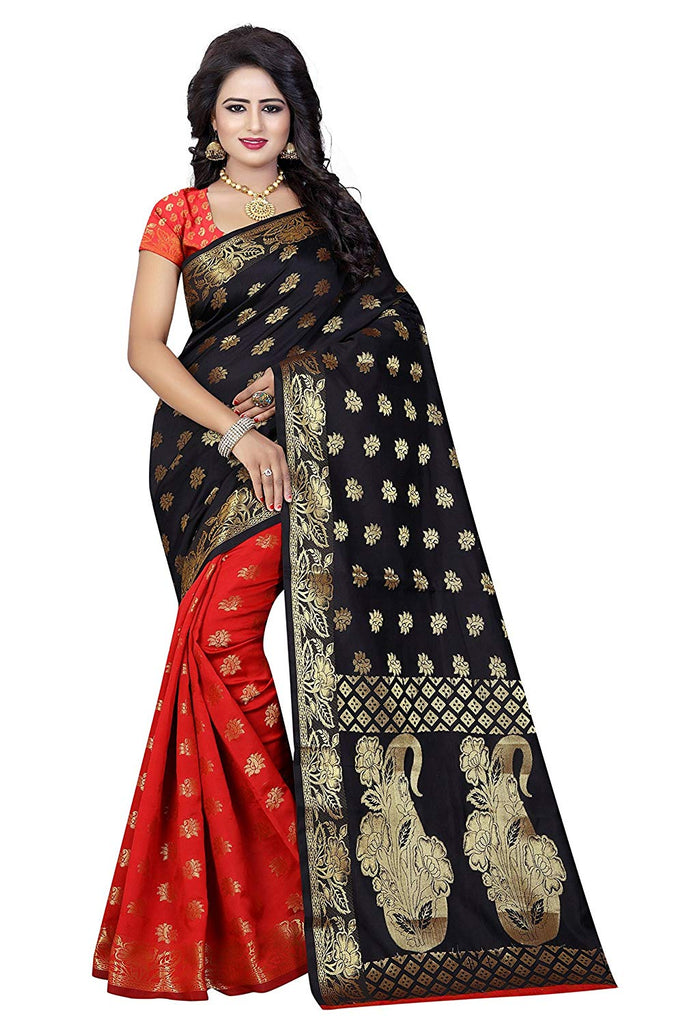 4fbd07f961 Red And Black Saree | Half Saree Online India | Red Saree in India | Half  And Half Silk Saree – Lady India