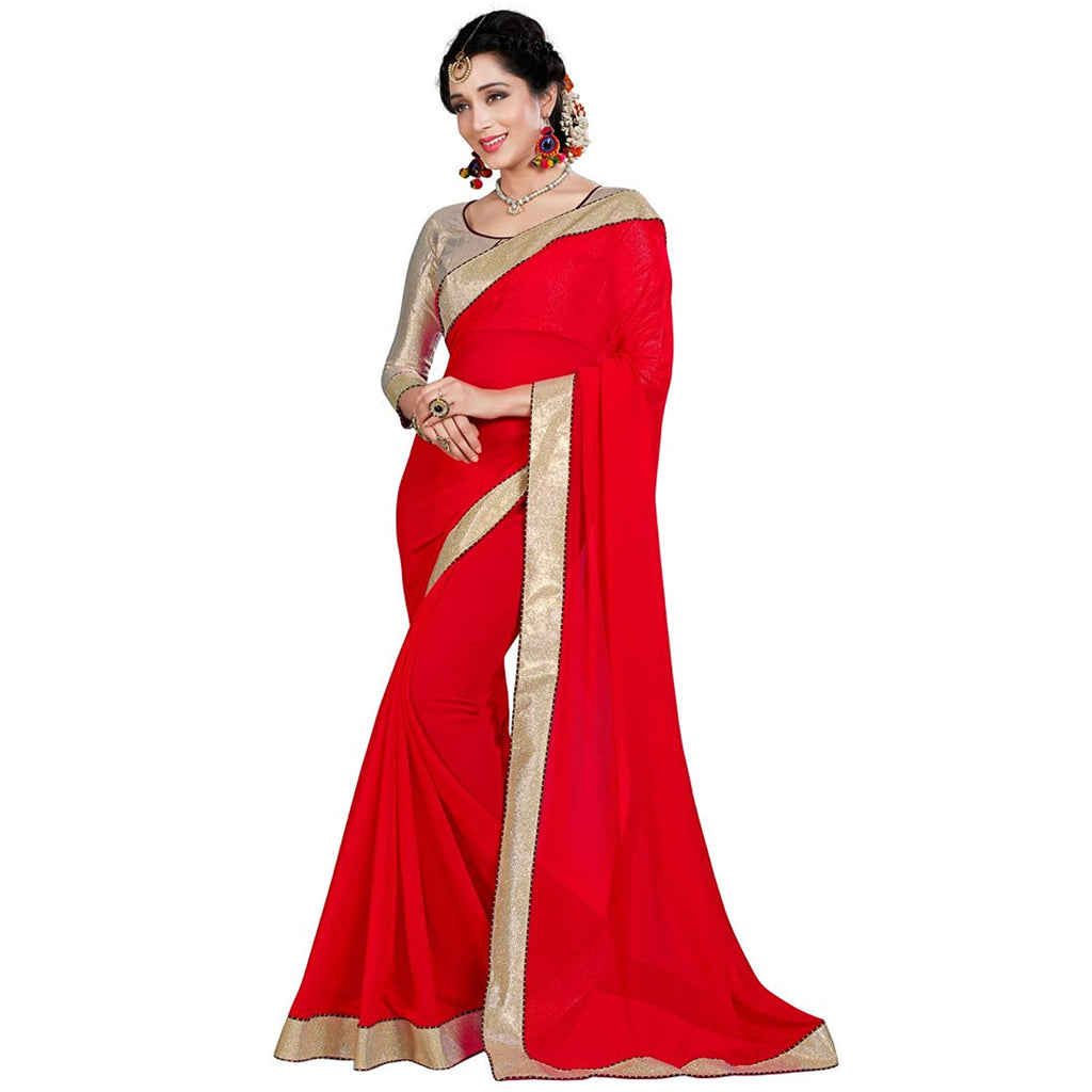668faf42e49 Red and Golden Saree