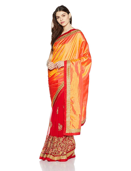 Red and Orange Saree - Art Silk & Georgette Saree With Blouse Piece