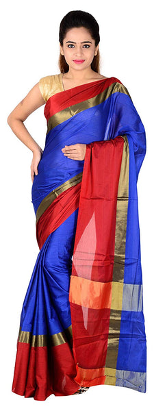Red and Royal Blue Saree