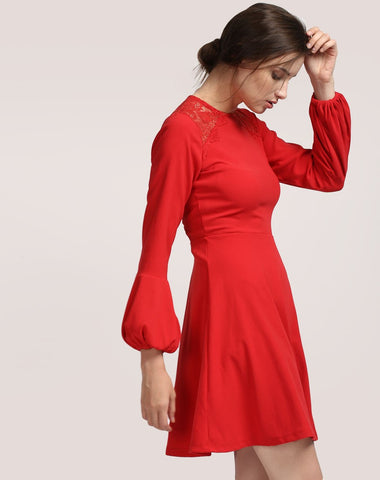 red-lace-skater-dress-designer-full-sleeves-skater-dress-online-for-women