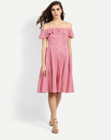 red-&-white-colored-check-print-off-shoulder-dress-ruffle-pattern-skater-dress