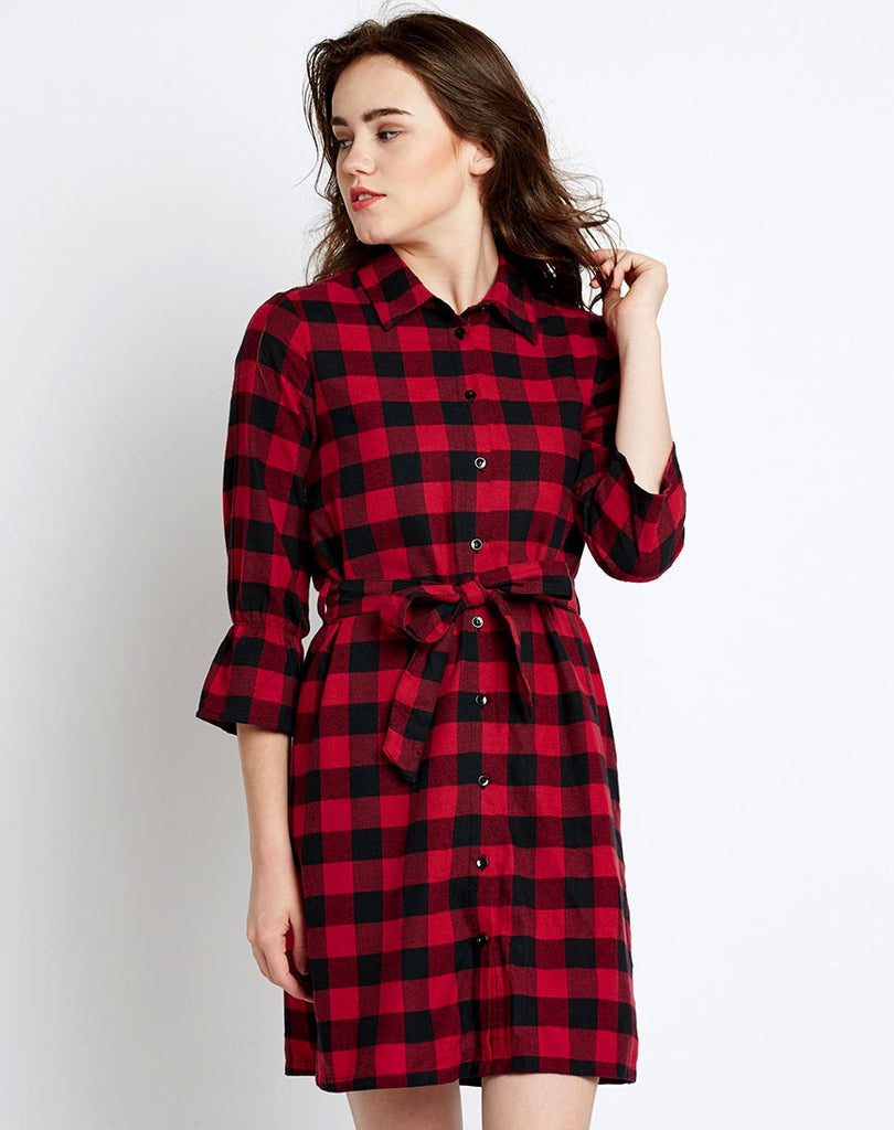2a8a68993482d Shop Online Red   Black Check Printed Knotted Shirt Dress Designer ...