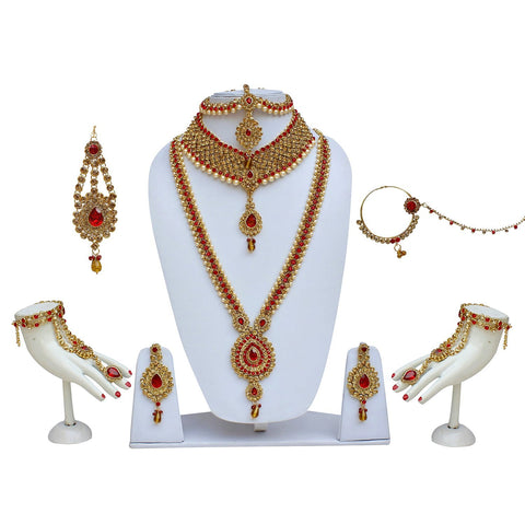 Red Color Bridal Jewellery Set - Wedding Necklace Set