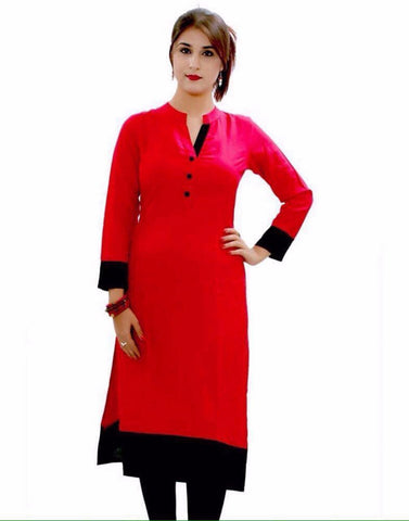 Red Simple Cotton Kurtis And Kurtas Cotton Casual Kurti For Women