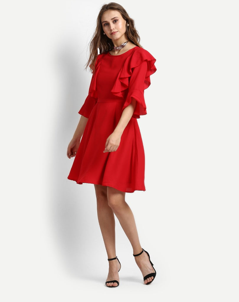 1dc204763744 Shop Online Red Dress Ruffles Skater Dress Kimono Style Midi Dress ...