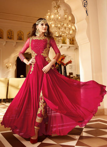 New-Design-Anarkali-Suit-Semi-Stitched-Red-Embroidered-Anarkali-Dress