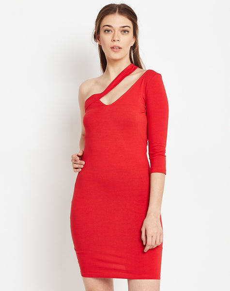 solid-red-colored-designer-one-off-shoulder-bodycon-dress-midi-dress