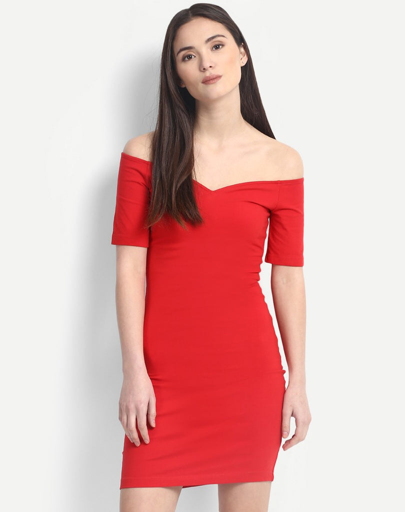 8d4d8378942 Purchase Online Red Solid Colored Off Shoulder Bodycon Dress Designer Bodycon  Dresses For Women – Lady India