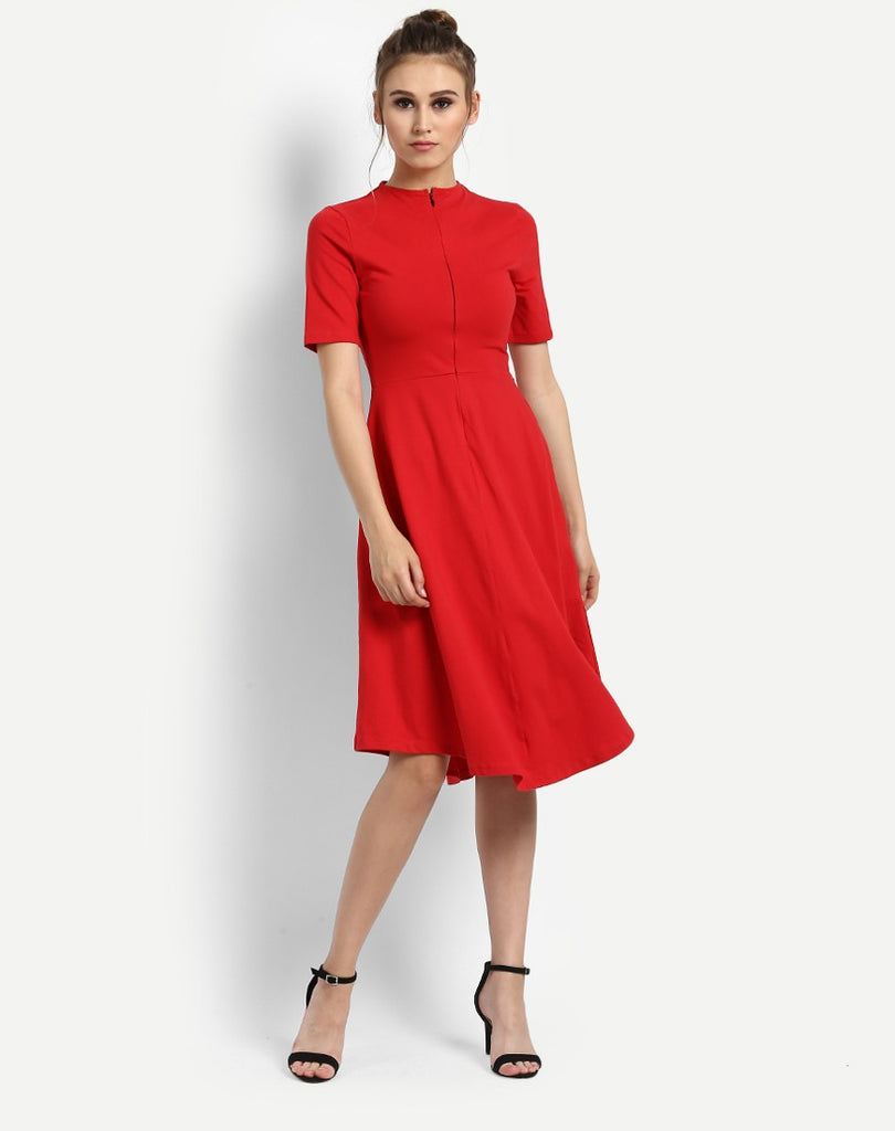 Shop Online Midi Dresses Red Dress Online Half Sleeves Party Wear ... 6dca97dda
