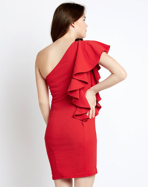 95f834a8206 Buy Online Red One Shoulder Ruffles Bodycon Dress Designer One OFF Shoulder  Dress Midi Dress For Women – Lady India