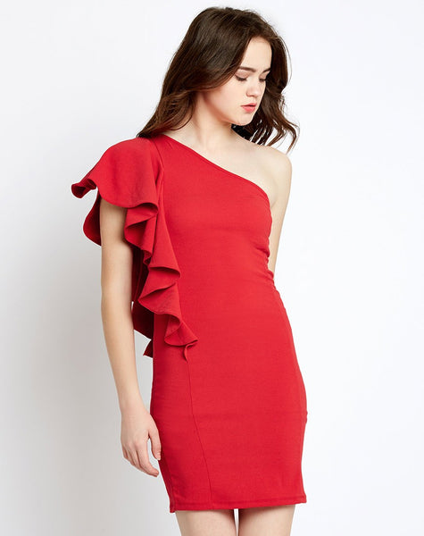 red-one-shoulder-ruffles-bodycon-dress