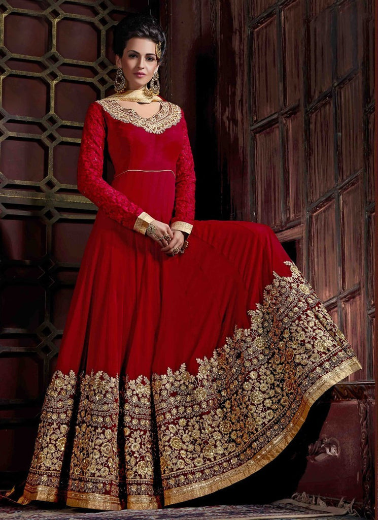 fc191987893 Shop Online Latest Designer Maroon Color Georgette Partywear Floor ...