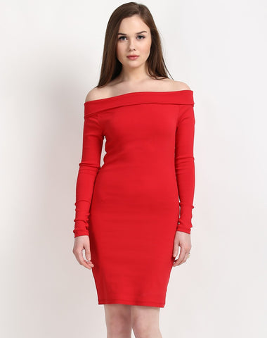 red-long-sleeve-bodycon-dress-plain-off-shoulder-designer-dress