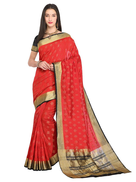 Red Saree With Black Blouse