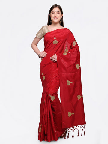 Red Saree With Gold Blouse