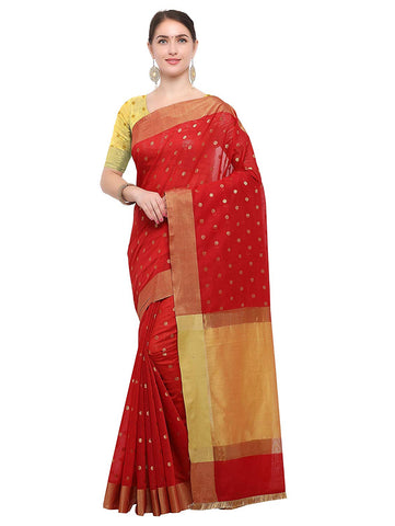 Red Saree with Gold Border