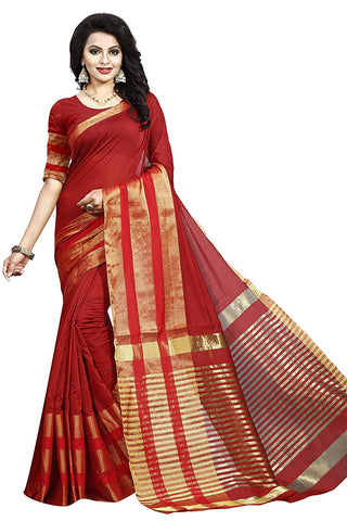 Red Saree With Golden Border
