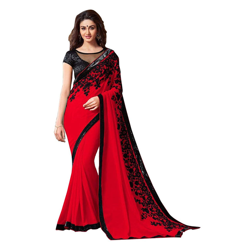 12fc25b4691 Red Saree with Black Border