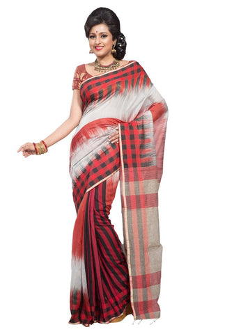handwoven-cotton-sarees-red-black-&-silver-three-colors-checks-print-handloom-sarees