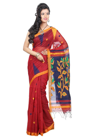 red-handloom-sarees-three-colors-handwoven-silk-sarees-with-leaf-print-border-work