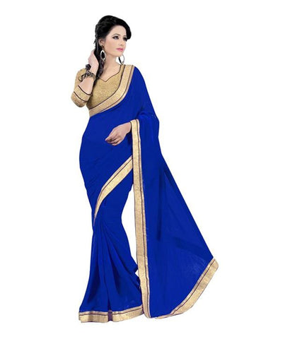 Royal Blue Saree With Gold Border