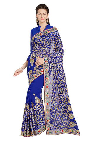 Royal Blue Wedding Saree