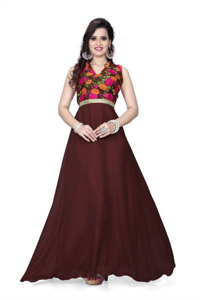 Designer Evening Gowns Brown Color Floral Print Gowns For Girl