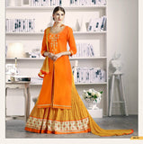 Fancy Orange & Yellow Color Embroidered Kurti With Long Skirt Style Salwar Suit