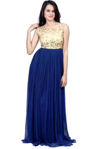 Fancy Long Gown Blue & Beige Color Gown With Golden Embroidery Work