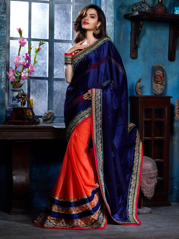 d7de2046bd Eid Offer Blue & Orange Pure Satin Saree With Embroidery & Border Work – Lady  India