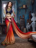 Eid Sale Partywear Red & Orange Color Pure Satin Saree With Shade Print, Embroidery & Border Work