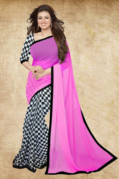 Pink Color Chiffon Sarees With Checks Print & Lace Border Work S073