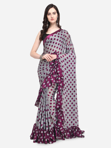 Multicolored Printed Crepe Ruffle Saree with Blouse