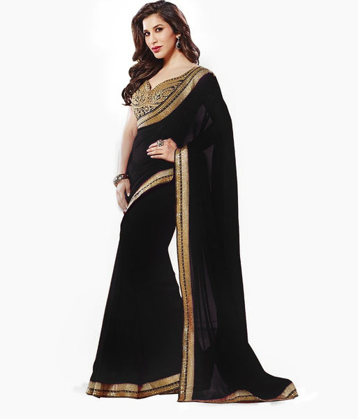 black-bollywood-sarees-sophie-choudry's-plain-bollywood-sarees-with-golden-lace-border-work