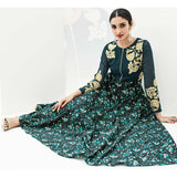 Eid Special: Designer Ladies Kurti Pine Green Embroidered & Floral Print Work Stitched Long Ladies Kurtis