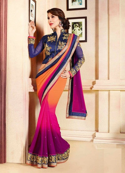 Stylish Bollywood Partywear Multicolour Saree For Women