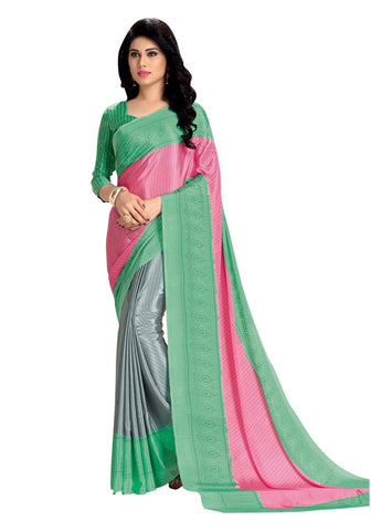 Latest Crepe Silk Sarees Three Colors Regular Wear Printed Crepe Sarees