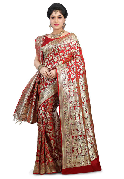 Pure-Banarasi-Silk-Red-Color-Saree-With-Golden-Kashidakaari