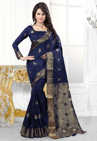 Woven-Art-Silk-Banarsi-Silk-Blue-Color-Saree